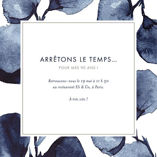 Carte d'invitation anniversaire adulte Ombres florales bleu