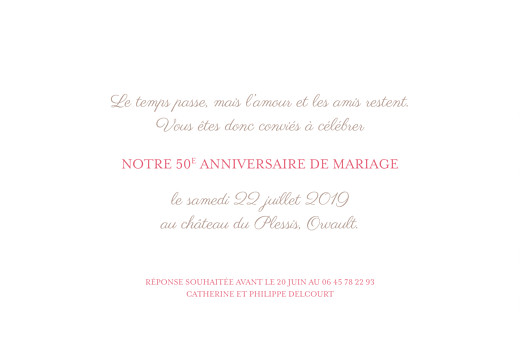 Carte d'invitation anniversaire adulte Félicité rose - Page 2