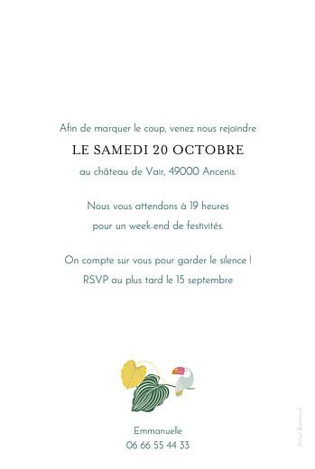 Carte d'invitation anniversaire adulte Jardin exotique vert - Page 2