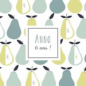 Carte d'anniversaire vert petits fruits poire