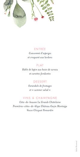 Menu de mariage Fleurs aquarelle rv crème - Page 2