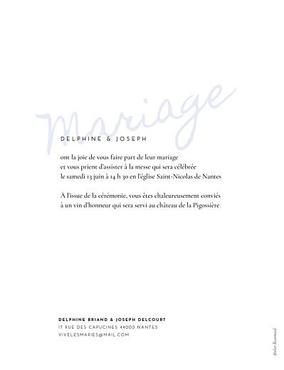Faire-part de mariage Manuscrit (portrait) bleu - Page 2