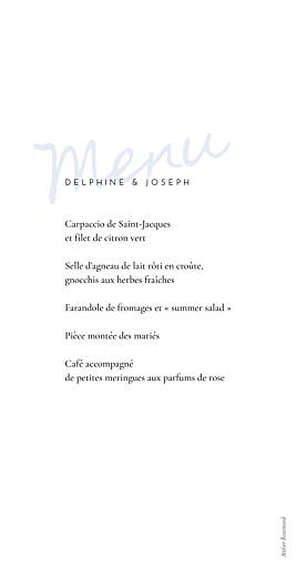 Menu de mariage Manuscrit bleu - Page 2