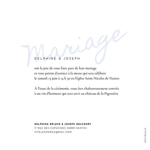 Faire-part de mariage Manuscrit bleu - Page 2