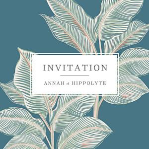 Carton d'invitation mariage bleu equateur bleu
