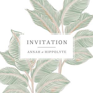 Carton d'invitation mariage vert equateur vert