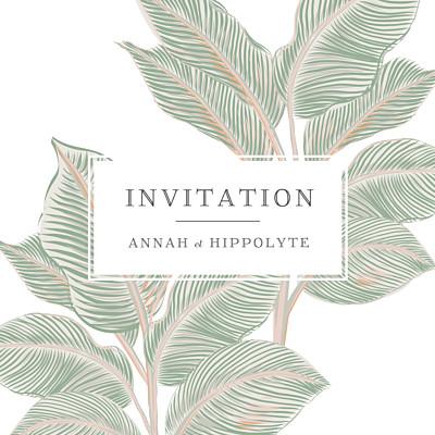 Carton d'invitation mariage Equateur vert finition