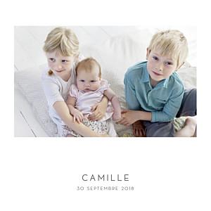 Faire-part de naissance petit frère ou petite soeur élégant cœur 4 pages (dorure) blanc