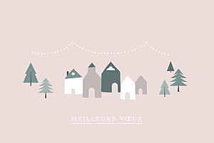 Carte de voeux classique village d'hiver (dorure) rose