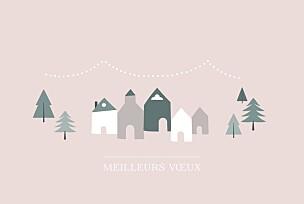 Carte de voeux photos village d'hiver (dorure) rose