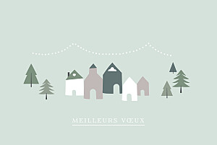 Carte de voeux vert village d'hiver (dorure) vert