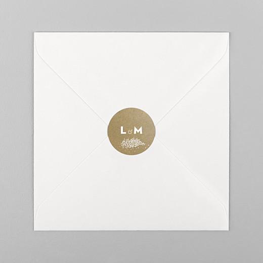 Stickers pour enveloppes mariage Gypsophile kraft - Vue 1