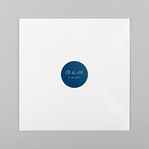 Stickers pour enveloppes mariage Carré chic bleu marine - Vue 1