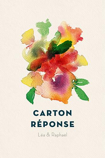 Carton réponse mariage Bloom (portrait) beige