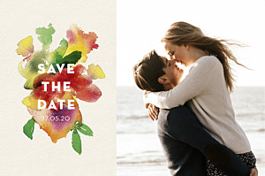 Save the date avec photo bloom std beige
