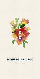 Menu de mariage tous genres bloom menu beige