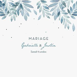 Faire-part de mariage été nuit d'été 4 pages (dorure) bleu