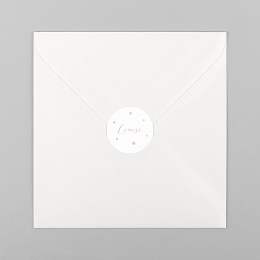 Stickers pour enveloppes naissance Lovely family rose - Vue 1