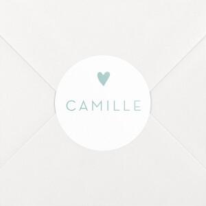 Stickers pour enveloppes naissance Élégant cœur vert