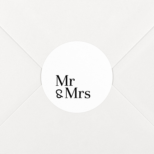 Stickers pour enveloppes mariage Mr & mrs blanc - Vue 2
