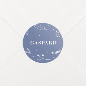 Stickers pour enveloppes naissance Élégant feuillage bleu
