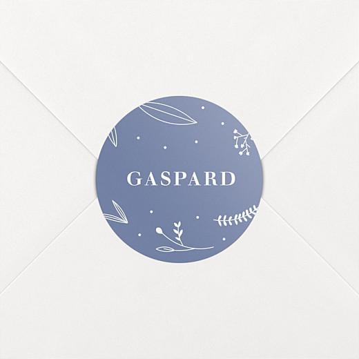 Stickers pour enveloppes naissance Élégant feuillage bleu - Vue 2