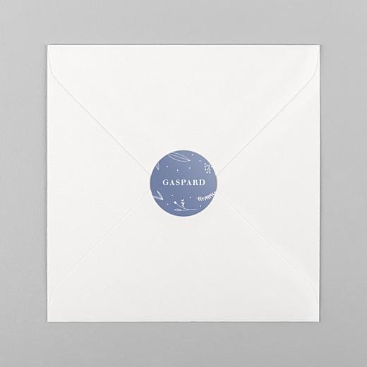 Stickers pour enveloppes naissance Élégant feuillage bleu - Vue 1