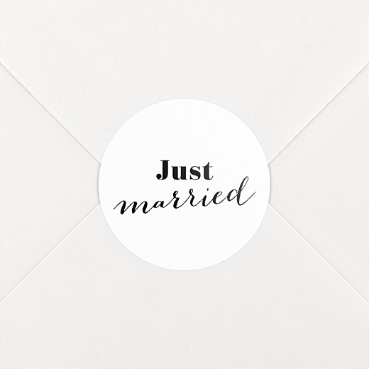Stickers pour enveloppes mariage Just married blanc - Vue 2