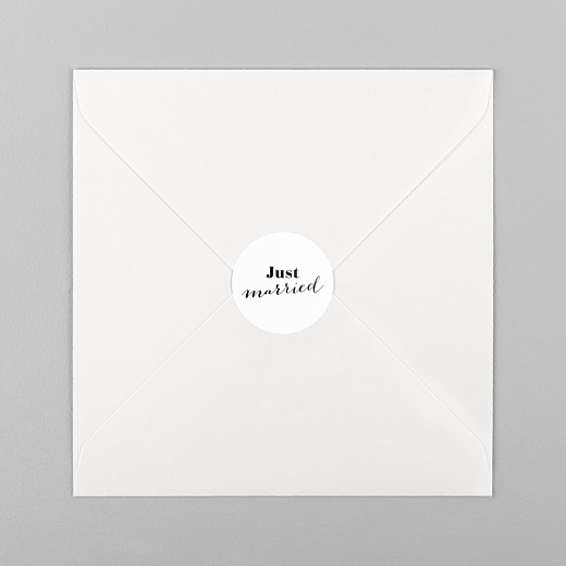 Stickers pour enveloppes mariage Just married blanc - Vue 1
