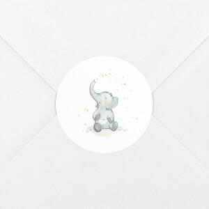 Stickers pour enveloppes naissance Éléphants en famille blanc