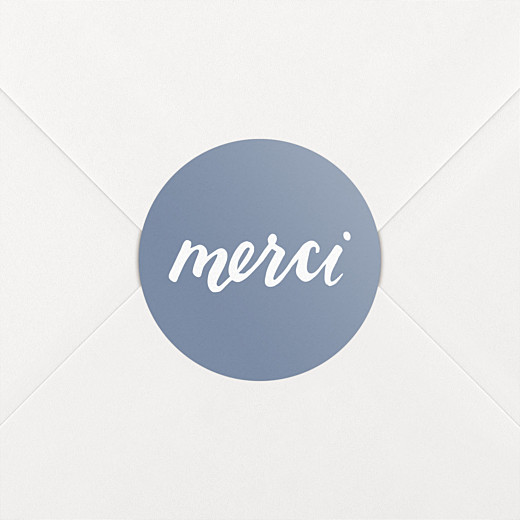 Stickers pour enveloppes mariage Merci bleu - Vue 2