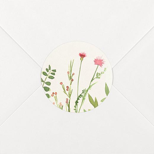 Stickers pour enveloppes naissance Fleurs aquarelle crème - Vue 2