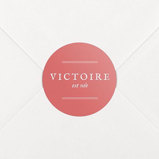 Stickers pour enveloppes naissance Médaillon corail - Vue 2