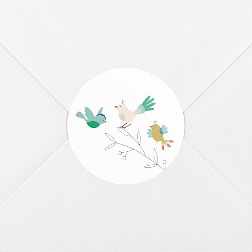 Stickers Naissance Oiseaux multicolores rose - Vue 2