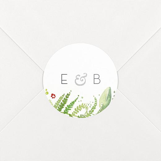 Stickers pour enveloppes mariage Murmure de forêt vert - Vue 2