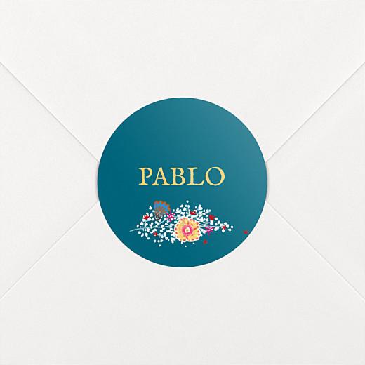 Stickers pour enveloppes naissance Gypsophile bleu - Vue 2