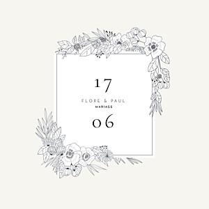 Faire-part de mariage traditionnel esquisse fleurie blanc