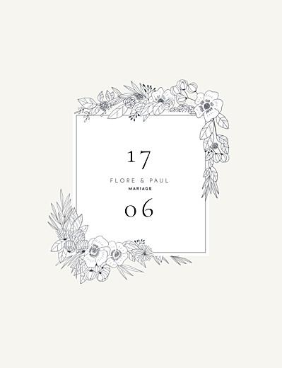 Faire-part de mariage Esquisse fleurie (portrait) blanc