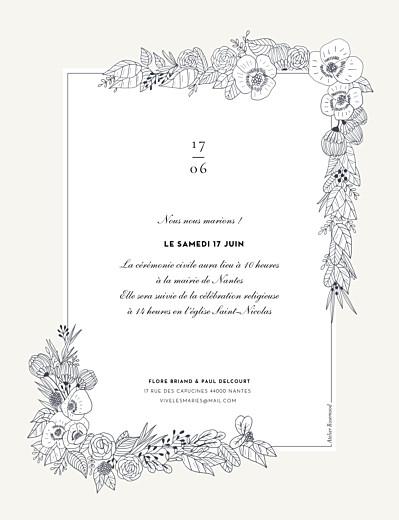 Faire-part de mariage Esquisse fleurie (portrait) blanc - Page 2