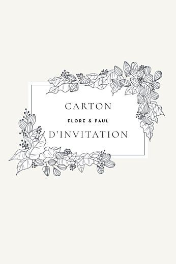 Carton d'invitation mariage Esquisse fleurie portrait blanc