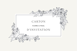 Carton d'invitation mariage traditionnel esquisse fleurie blanc