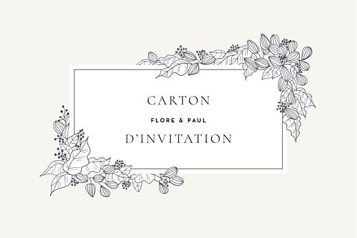 Carton d'invitation mariage Esquisse fleurie blanc