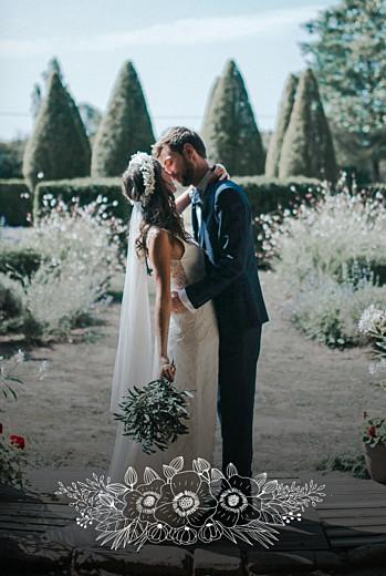 Carte de remerciement mariage Esquisse fleurie portrait blanc