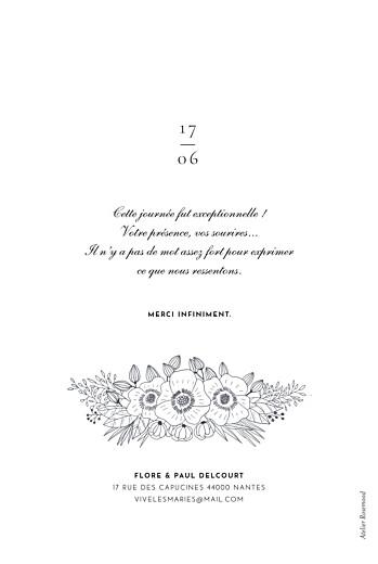 Carte de remerciement mariage Esquisse fleurie portrait blanc - Page 2