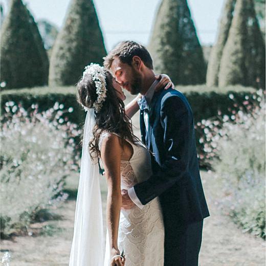 Carte de remerciement mariage Esquisse fleurie blanc