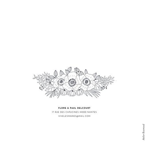 Carte de remerciement mariage Esquisse fleurie blanc - Page 4
