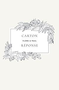 Carton réponse mariage tous genres esquisse fleurie (portrait) blanc