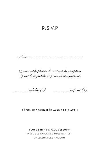 Carton réponse mariage Esquisse fleurie (portrait) blanc - Page 2