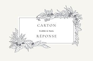 Carton réponse mariage beige esquisse fleurie blanc