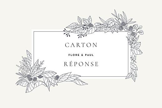 Carton réponse mariage Esquisse fleurie blanc